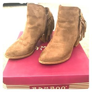 Shoes - Brown fringe ankle booties